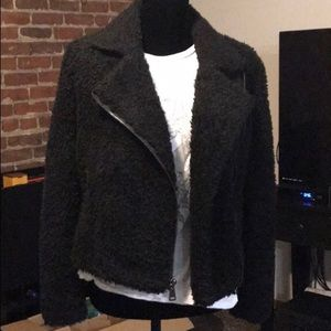 Express black teddy Sherpa moto jacket S